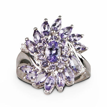 Genuine Tanzanite Cluster Ring 2 Carats Sterling Silver