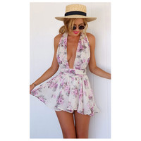 Hot Sale Backless Spaghetti Strap Jumpsuit Summer Chiffon Print Romper [6033564737]