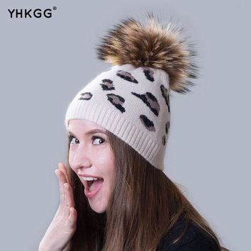 Ms. Cashmere Hats 2016  Beanies Gorros  Latest Casual With Leopard Fur Ball  For Shopping