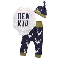 2016 Autumn Children Clothes Infant Toddler Newborn Baby Boys Girls Deer Romper+Pant+Hat Outfits Set Baby Clothing