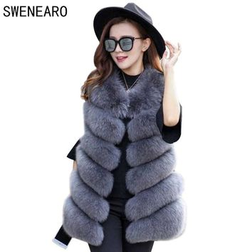 SWENEARO Winter vest Warm Luxury Fur Vest for Women Faux Fur Coat Vests Women's Coats Jacket High Quality Furry Vest Coat