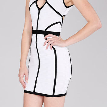 Round Neck Style Lines Bandage Dress in White With Black Trim