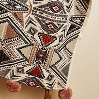 Warm Aztec Throw with Poms