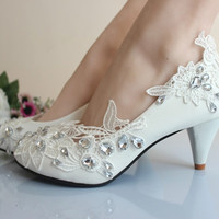 Elegant WhIte Crystal Lace Flower Women Bridal Shoes Fashion Sweet Wedding Party Mid Heels = 1932746564