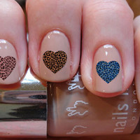 Leopard Heart Nail Decals 24 Ct.