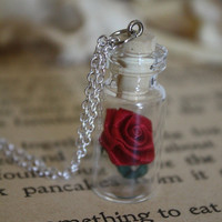 Beauty and the Beast Rose Vial Necklace - You Choose the Color