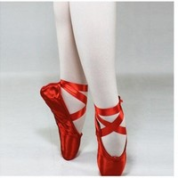 NEW ballet professional satin pointe ribbon ties shoes RED US SIZE5-9