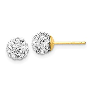 14K Yellow Gold Crystal Ball Evening Post Earrings