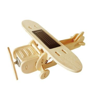 Robud 11 Kinds Solar Energy Plane 3D Wooden Puzzle Model Building Popular Novelty & Gag Toys Hobbies for Children H40