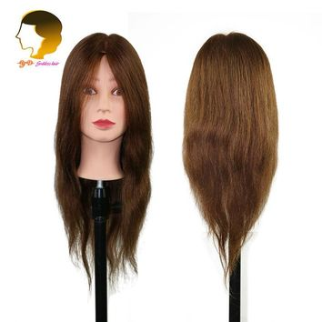 Head Training Mannequin For Hairdressers Cabeza Maniqui Dummy Hairstyles Mannequin Head With 100% Real Hair Practice Head Barber