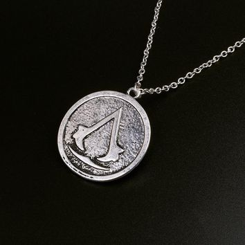 RJ Hot Sale Game Assassin's Creed Insignia Necklaces Vintage Assassin's Creed Badge Necklace Round Tag Men Collana Jewelry