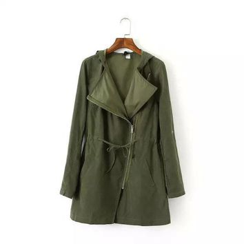 CREYIH3 HOT GREEN Show thin coat lapel rope loose tarmac trench coat LOWEST PRICE