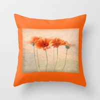 Orange Gerberas Throw Pillow by inkedsandra