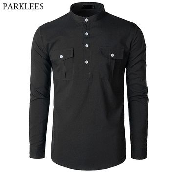 Men's Hipster Button Henley Polo Shirt 2018 Brand New Long Sleeve Polo Shirt Homme Solid Color Casual Polos Shirts with Pocket