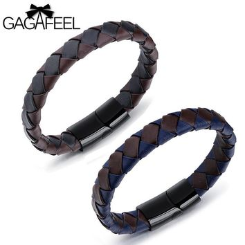 Gagafeel Weave Chain Genuine Leather Stripe Color Bracelet For Men Jewelry Stainless Steel Charm business Magnetic Wristband