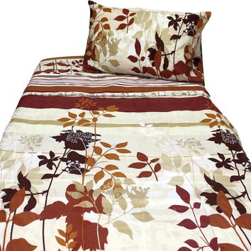 Autumn Fall Leaves Flowers Stripes Bed Sheets Set