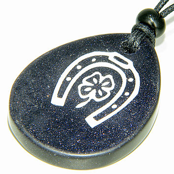 Lucky Horse Shoe Lucky Clover Wish Stone Blue Goldstone Pendant Necklace
