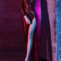 Red Sequin Side Slit Glitter Banquet Elegant New Year Eve Party Maxi Dress