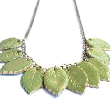 Polymer Clay Leaves Statement Necklace. Green Jewelry. Polymer Clay Bib. Handmade Jewelry. Contemporary Jewelry