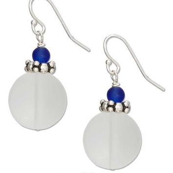 Sterling Silver Clear White Round Sea Glass Earrings With Cobalt Ocean Blue Bead