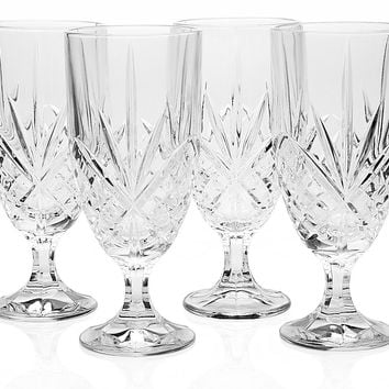 Dublin Crystal Iced-Tea Glasses, Set of 4, Tumblers, Water & Juice