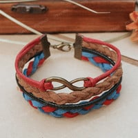 Infinity bracelet- British colored karma infinity bracelet for girlfriend and boyfriend