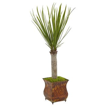 Artificial Silk Tree -40 Inches Yucca Tree In Metal Planters