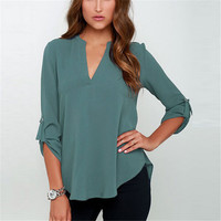 2016 Fashion Women Long Sleeve V Neck Chiffon Blouse Shirts Casual Loose Solid Color Tops Lady OL Work Wear Blusas Plus Size