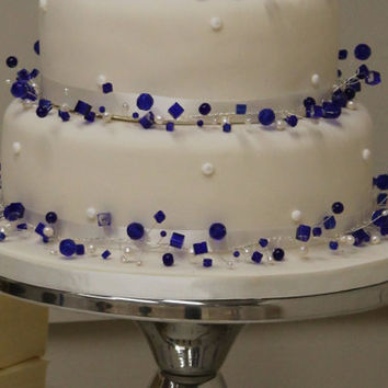 CUSTOM crystal and freshwater pearl wedding cake necklace 2 tier decoration topper ribbon beaded jewellery jewelry