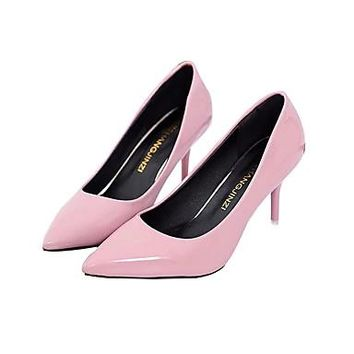 Women's Shoes Leather PU Spring Fall Basic Pump Heels Stiletto Heel for Casual White Black Red Pink