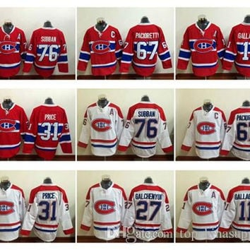 Canadiens #31 Carey Price Lace Hockey Jerseys #76 Subban Red 2016 #27 Galchenyuk #11 Gallagher #67 Pacioretty Men's Montreal Hockey Jerseys