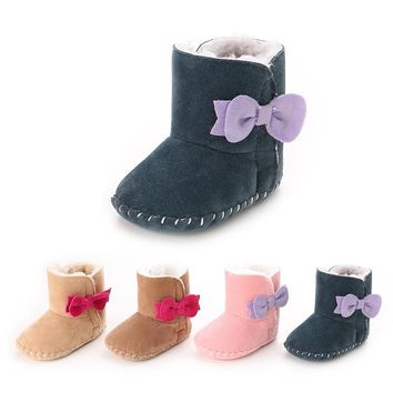 2017 Winter Warm Baby Shoes, Baby Girl Snow Boots With Bow Tie  First Walkers