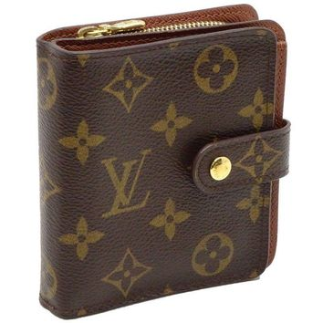 Auth LOUIS VUITTON Monogram Compact Zip Wallet M61667 Brown /041135 FREE SHIP