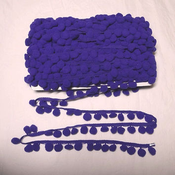 Purple Pom Pom Fringe Trim, 1/2 Inch Ball or 10 mm Ball, BY the YARD, Sewing Projects, Crafts, Pillows, Curtains, Costumes, Home Sewing Trim