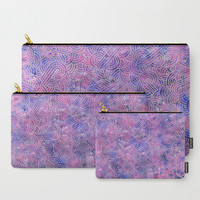 Purple and faux silver swirls doodles Carry-All Pouch by savousepate