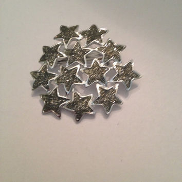 Vintage Silver Metallic Star Brooch Pin Costume Jewelry