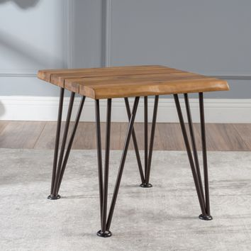Gerston Indoor Industrial Rustic Iron and Teak Finished Acacia Wood Side Table