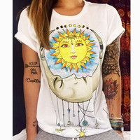 S-5XL t-shirt summer women clothing Sun moon punk t shirt tee shirt tees tops woman tshirt camiseta mujer
