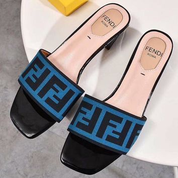 FENDI Fashion Wear F Flip Flops Low Heel Peep Toe Square Sandals F-OMDP-GD blue