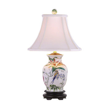 Floral and Bird Motif Porcelain Vase Table Lamp 20.5""