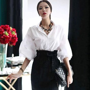 Women Lantern Sleeve Blouse Vintage Puff White Tops Female Brand Turn Down Collar Single Breasted Loose Sleeve Cotton Shirt