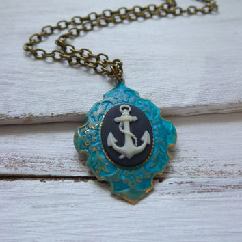 Anchor Cameo Necklace, Verdigris Patina Brass Setting, Anchor Cameo Necklace, Victorian Necklace, Lost at Sea Necklace, Sailor Necklace