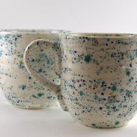 Large White Confetti Ceramic Mugs - Set of 2 by RiverRockArts on Handmade Artists' Shop