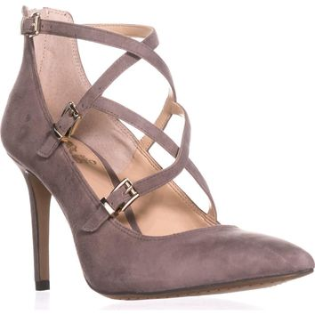 Vince Camuto Neddy Multi Strap Pointed Toe Dress Heels, Stone Taupe Suede, 10 US / 40 EU