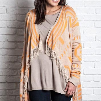 Plus Size Frayed Southwestern Cardigan