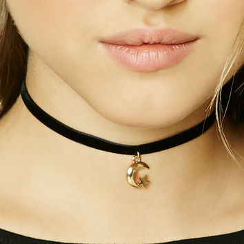 Moon And Star Charm Choker
