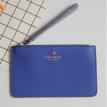 Kate Spade 2017 new love cell phone bag zipper clutch macarons card package tide package Sapphire blue