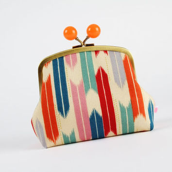 Clutch purse with metal frame - Arrow in orange and teal - Color bobble purse / Metallic gold print / grey blue green red mauve pink Tribal