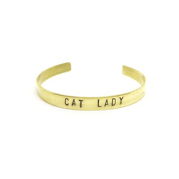 Cat Lady Hand Stamped Brass Cuff Bracelet