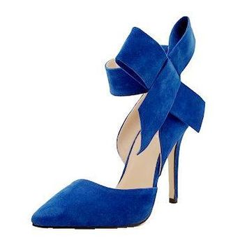 Women Big Bow Tie Pumps Butterfly Pointed Stiletto High Heels Shoes